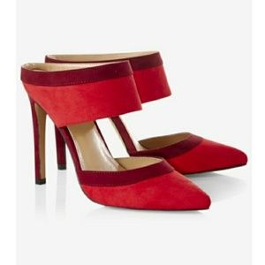 Express red backless heels